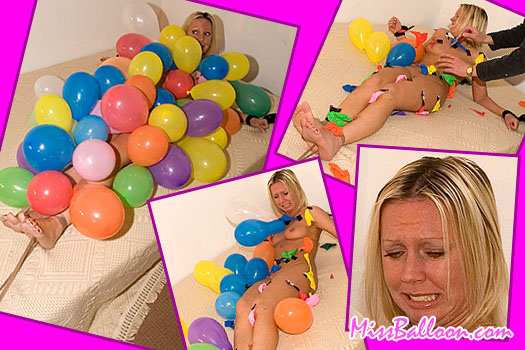 naked women tied up and covered in inflated balloons which are popped one by one
